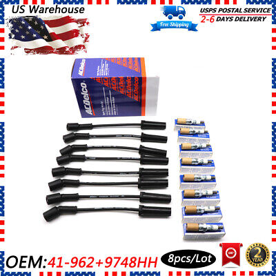 8ps AC DELCO 41-962 9748HH SPARK PLUGS WIRES SET For GMC Chevy Hummer 5.3 6.0 V8