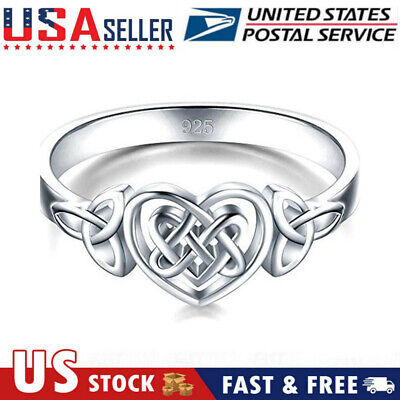 Women 925 Sterling Silver Celtic Knot Engagement Wedding Ring Viking Jewelry -