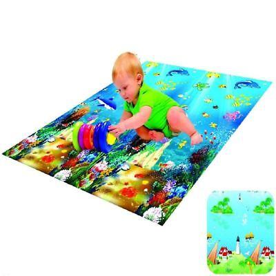 KIDS PLAY MAT FLOOR ACTIVITY RUG HUGE DOUBLE SIDED CARPET OCEAN ANIMALS 1.5x1.8M