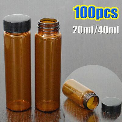 100pcs 20ml40ml Capacity Amber Sample Vialscaps Glass Bottle 24-400 Screw Top