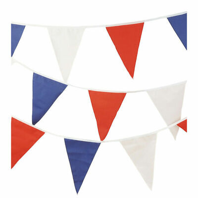 STAY AT HOME PARTY 10M RED WHITE & BLUE FLAG BANNER BUNTING - VE DAY 8TH MAY