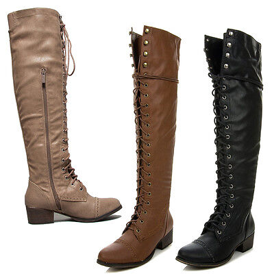 12 Womens Fashion Boot (New Womens Over The Knee Up Fashion Military Combat Boots Breckelle's ALABAMA-12 )