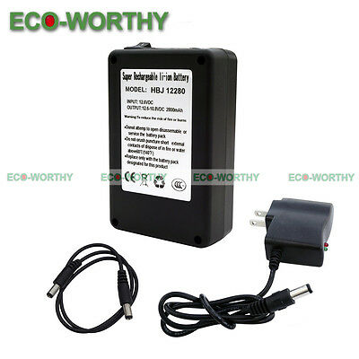 DC 12V 2800mAh Super Rechargeable Lithium-ion Battery Portable Pack US Plug