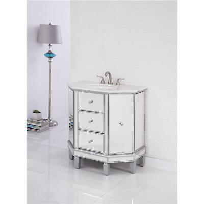 Marble Bathroom Storage Cabinet - MIRRORED BATHROOM 2 DOOR & 2 DRAWER STORAGE VANITY SINK MARBLE TOP CABINET