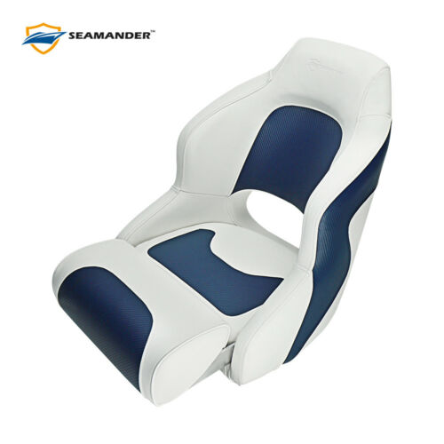Premium Captain Seat Bucket Seat,Sport Flip Up Seat,White/Charcoal/Blue/Red