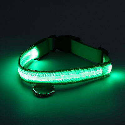 RECHARGEABLE LED Light Flashing Pet Dog Collar Glow Luminous Adjustable Safety