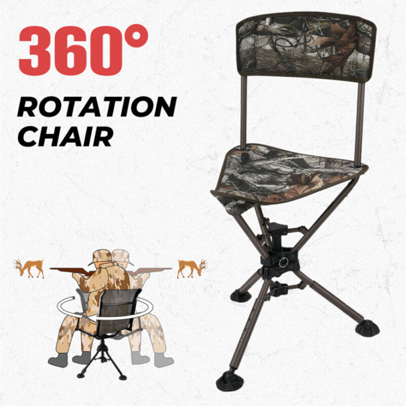 360° Swivel Hunting Chair Folding Blind Chair Seat Stool For Outdoor Camping
