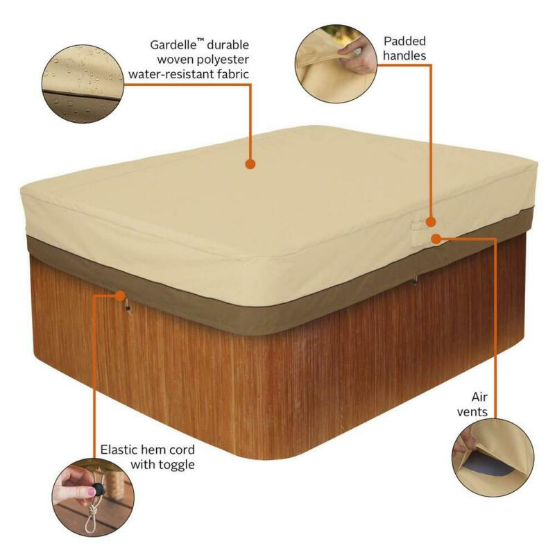 Classic Accessories Hot Tub Cover Medium Rectangular Water Repellent Polyester