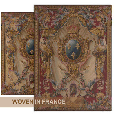 Coat of Arms French Tapestry Wall Hanging Woven Extra Large Jacquard Art Red