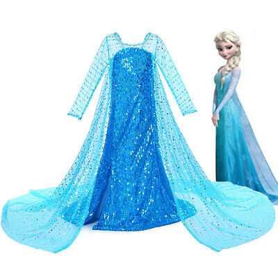Childrens Wedding Dress Costume (Princess ELSA Girls Fancy Outfit Sequined Costume Cosplay Party Wedding Dress)