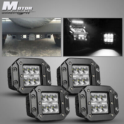 4x Flush Mount 18W LED Cubic Pod Reverse Lights For Truck Jeep Off-Road ATV FORD