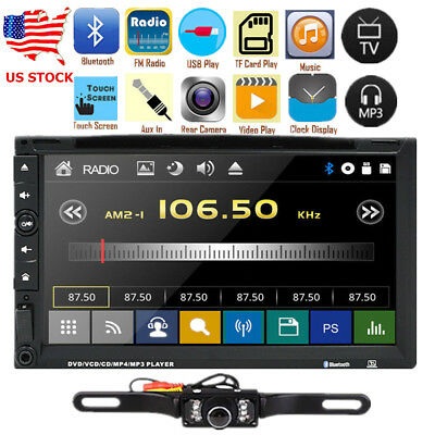 "Sony Lens 7"" Car Stereo Double 2Din Radio DVD Player iPod Bluetooth TV MP3 Mic V"