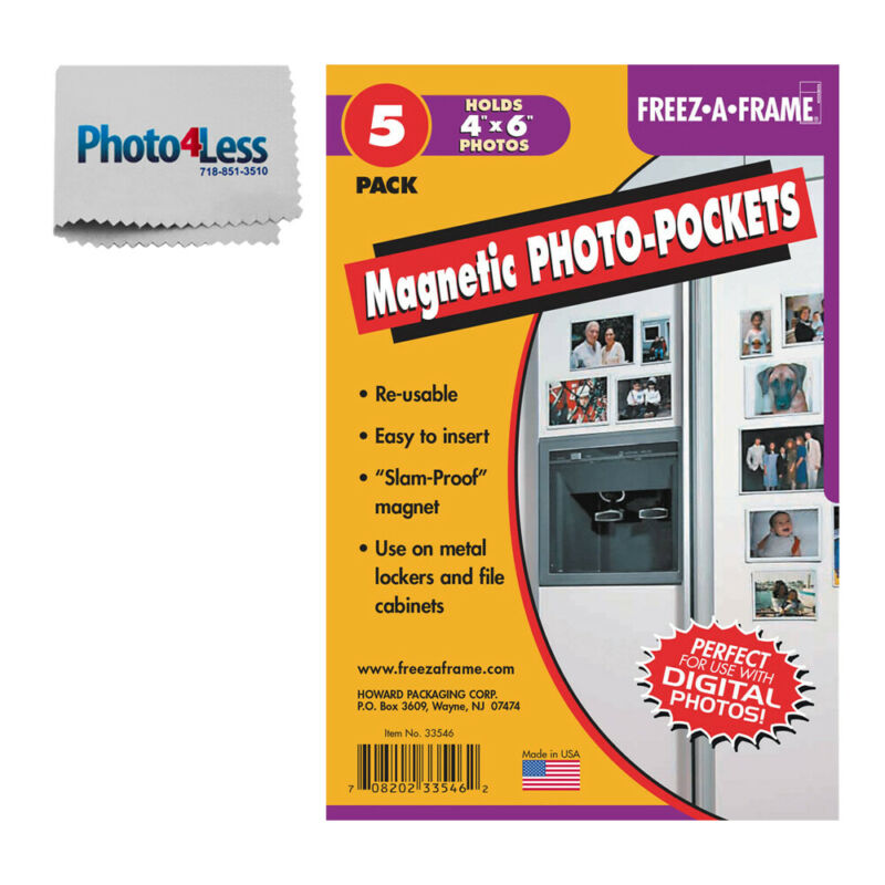 Freez A Frame Clear Magnetic Photo Frame For 4x6 Photos 5 Pack + Cleaning Cloth