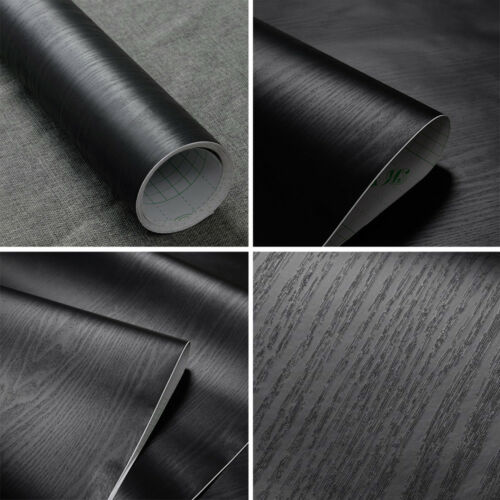 Black Wood Grain Wall Paper Self-adhesive Home Furniture Flo