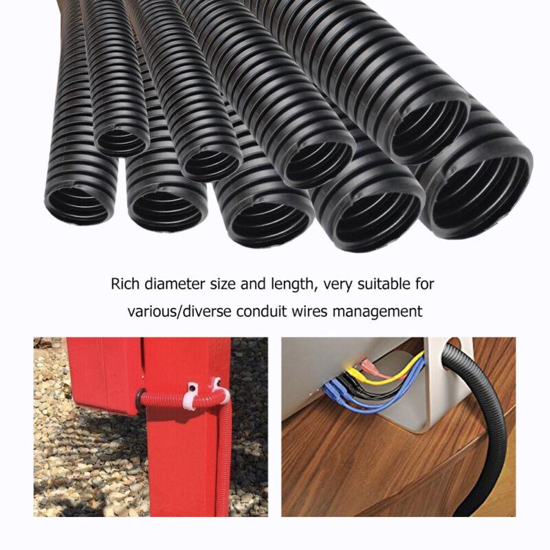 Conduit Split Wire Loom Cable Flex Tube Corrugated Sleeve Polyethylene Black Lot