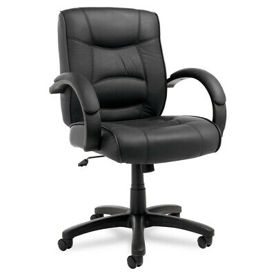 Alera Mid-Back Swivel/tilt Chair W/black Top-Grain Leather SR42LS10B NEW