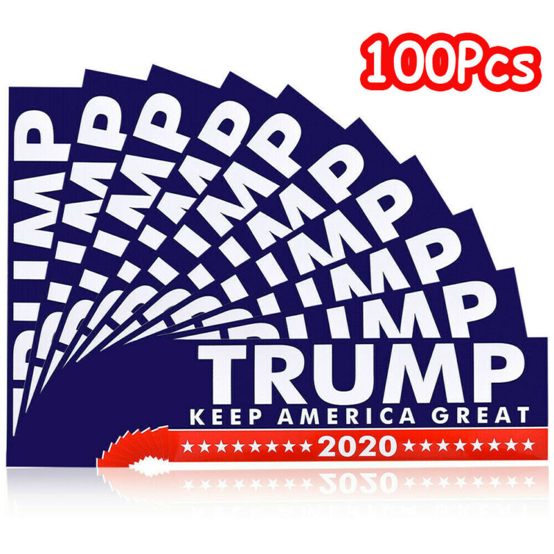 100Pcs Donald Trump President 2020 Keep America Great Again Bumper Stickers US