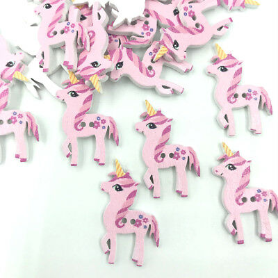 Wooden Pink Unicorn shape Buttons Scrapbooking Sewing Kid's Handicrafts 25mm