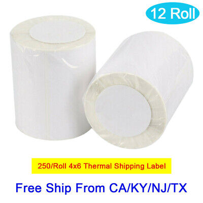 12 Rolls Of 250 Direct Thermal Shipping Labels 4x6 For Zebra Eltron 2844 Zp-450
