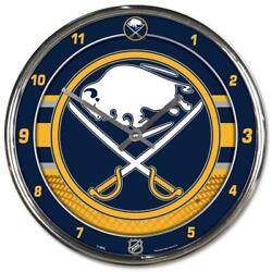 Buffalo Sabres Chrome Round Wall Clock [NEW] NHL Sign Banner Office Cave