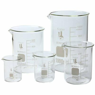 Glass Beaker Set - 5 Sizes Laboratory 3.3 Glassware Science Lab Chemistry Beaker