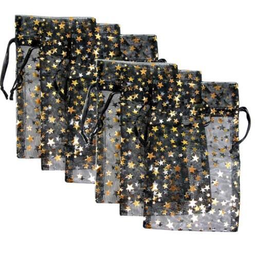 6-PAK__DECORATIVE ORGANZA GIFT JEWELRY POUCHES BLACK w/GOLD STARS
