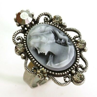Quartz Antique Style Ring - Antique Silver Vintage Style CAMEO Ring Oval Gray Stone Crystal Rhinestones CR1