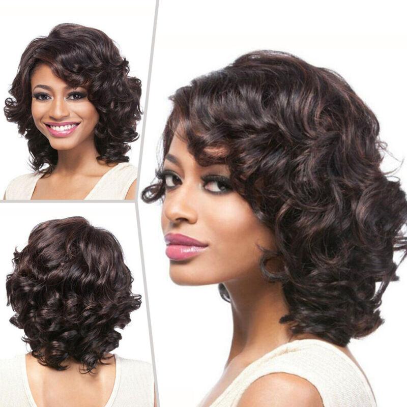 Fashion Women Lady Sexy Short Curly Wigs Dark Brown Wavy Hai