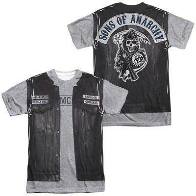Sons of Anarchy Jax's Leather Vest Jacket Costume Outfit Uniform Allover T-shirt