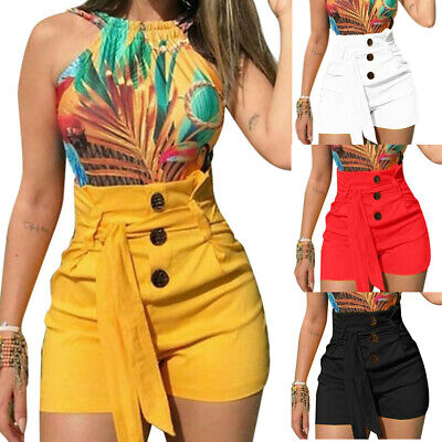 Plus Size Women High Waist Button Shorts Summer Casual Stretch Lady Short Pants ()
