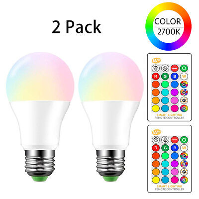 Color Light Bulbs (E26 LED Light Bulbs RGB Color Changing 10W A19 Warm White with Remote 2)