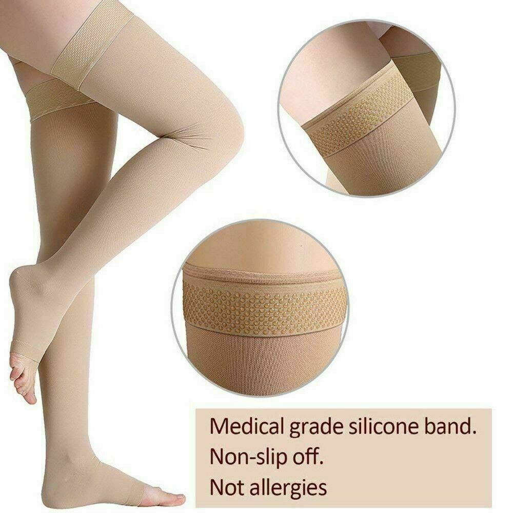 30-40mmHg Compression Open Toe Socks Thigh High Support Stoc