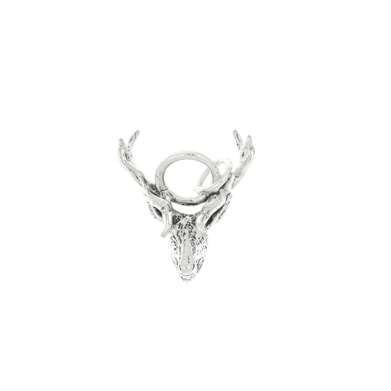 STERLING SILVER 3D MALE DEER CHARM OR PENDANT