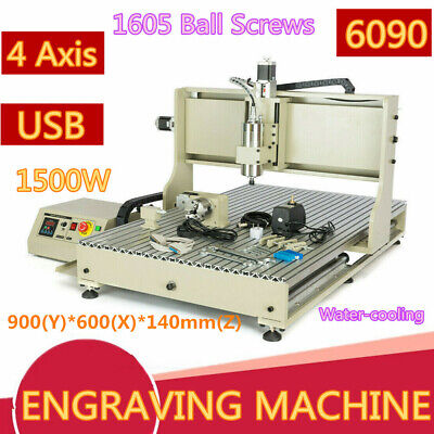 1.5kw 4 Axis 6090 Cnc Router Engraver Metal Carving Drill Mill Desktop Machine