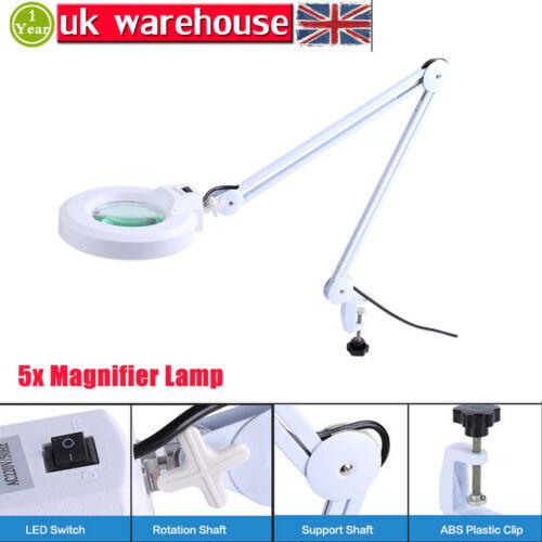 5'' Lens Clip-on Desktop Magnifying Magnifier Lamp Light 5x Beauty Makeup Salon