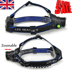 3000LM CREE XM-L XML T6 LED Rechargeable Zoomable Head Torch Headlamp Headlight