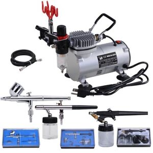 3 Airbrush Compressor Dual-action Spray Complete Tattoo Nail Art Air Brush Set