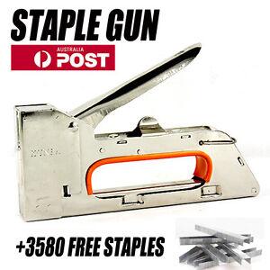 Quality 4-8mm Handy Staple Gun Tacker Upholstery Stapler /w 3580 Staples Kit