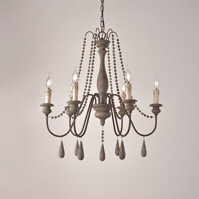 Candle 6-Light Wooden Pendant Lights Kitchen 1-Tier Gray Chandelier Lighting E12 ()