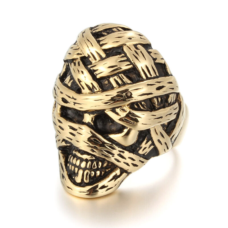 5 Pcs/Lot Stainless Steel Men Boy Plated Gold Mummy Gothic Biker Rings Wholesale