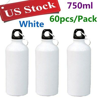Us Stock 60pcs 750ml White Blank Aluminum Sports Bottle For Sublimation Printing