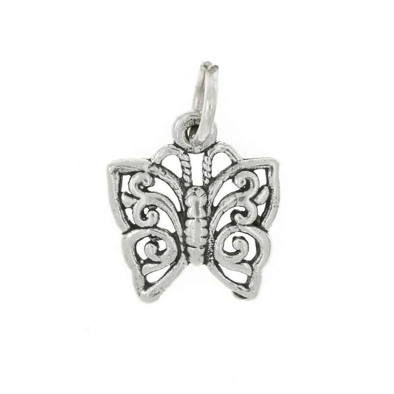 SILVER ORNATE DESIGN BUTTERFLY CHARM OR PENDANT