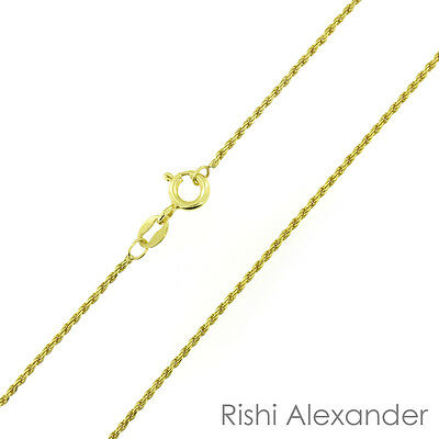 - 14k Gold over 925 Sterling Silver Diamond Cut Rope 1mm Chain Necklace .925 Italy