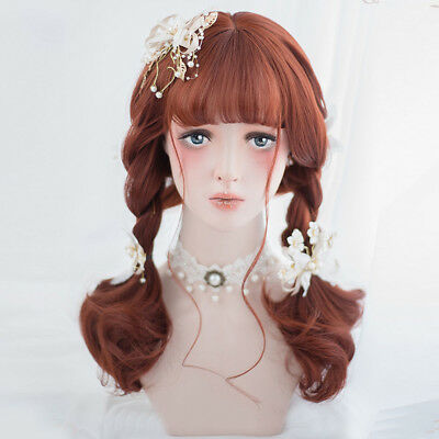 Harajuku Lolita Curly Ash Red Brown Party Hair Women Prom Long Cosplay Wig+Cap - Ash Female Cosplay