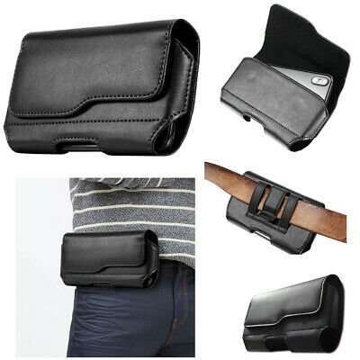 Business Magnetic Belt Waist pack Holster Carrying Pouch Black Soft Leather -