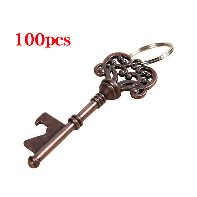 100pcs Vintage Skeleton Key Bottle Keyring Opener Barware Bridal Wedding Favor - Bottle Opener Wedding Favor