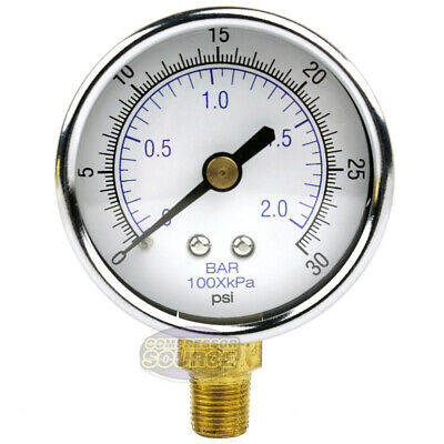 18 Npt Air Compressor Lower Mount Pressure Gauge 0-30 Psi Side Mnt Wog 2 Face