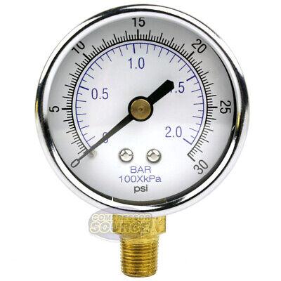 18 Npt Air Compressor Lower Mount Pressure Gauge 0-30 Psi Side Mnt Wog 2 Face