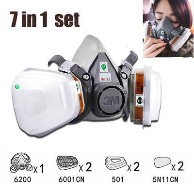 3m 6200 7 In1 Suit Spray Paint Dust Mask Vapour Particulate Reusable Respirator