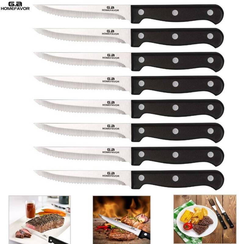 8 Steak Knife Set Serrated Edge Steel Utility Knives Steakho